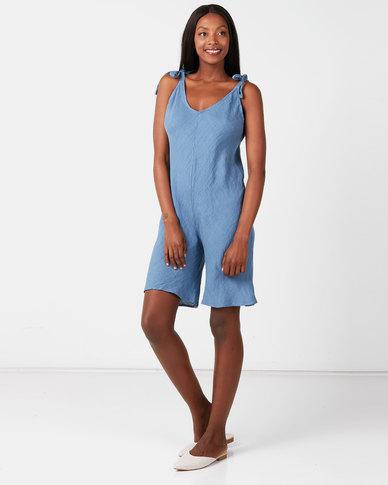 UB Creative Linen Shoulder Tie Romper Blue