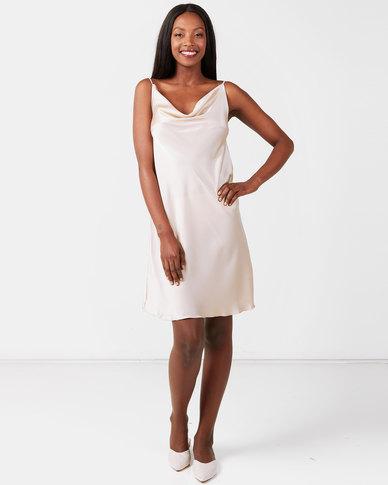 UB Creative Satin Cowl Neck Short Dress Stone