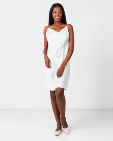 UB Creative Satin Cowl Neck Short Dress White