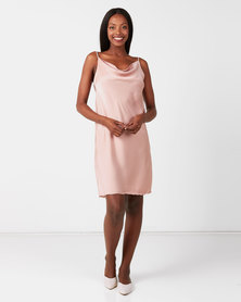 UB Creative Satin Cowl Neck Short Dress Pink