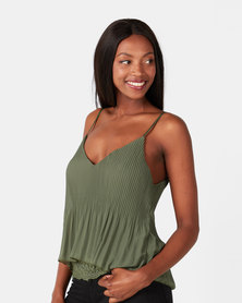 UB Creative Georgette Pleated Cami Lace Hem Top Green