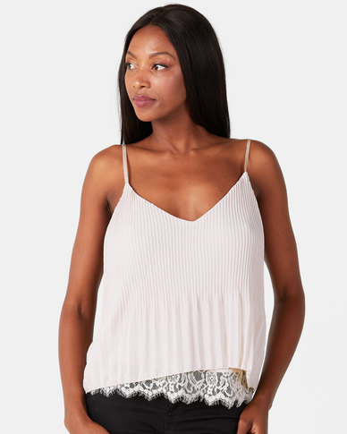 UB Creative Georgette Pleated Cami Lace Hem Top Stone