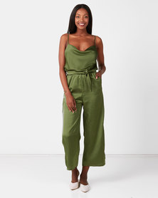 UB Creative Satin Cowl Neck Pants Suit Green