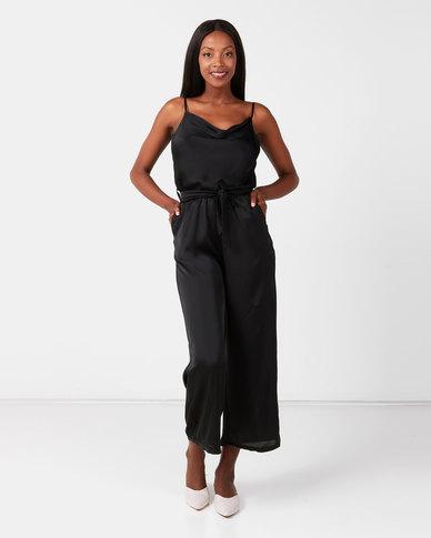 UB Creative Satin Cowl Neck Pants Suit Black