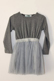 Oikie Toikie Dress With Tulle Skirt & Top Grey