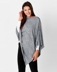 Blu Spiral Buttons Poncho Grey Melange