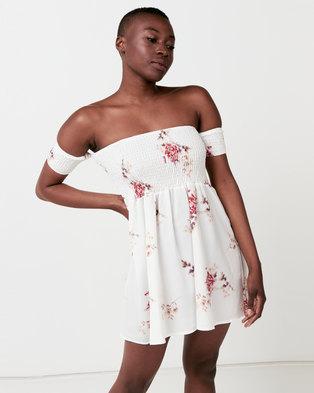 Utopia Shirred Boobtube Dress White