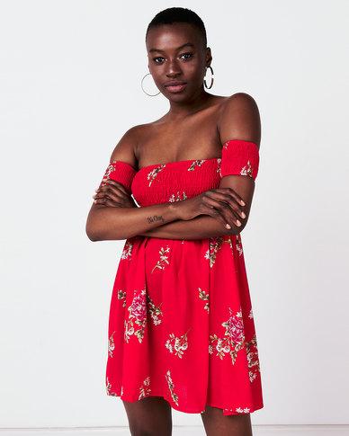 Utopia Shirred Boobtube Dress Red
