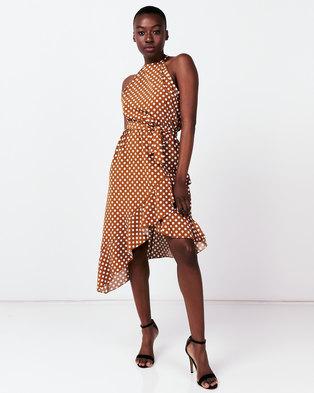 Utopia Polka Dot Halter Wrap Dress Cinnamon