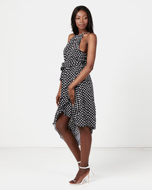 Utopia Polka Dot Halter Wrap Dress Black