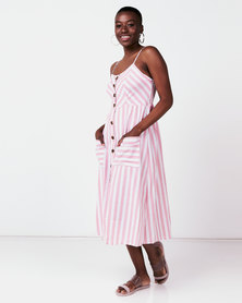 Utopia Stripe Button Through Dress Pink/White