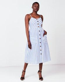 Utopia Stripe Button Through Dress Blue/White