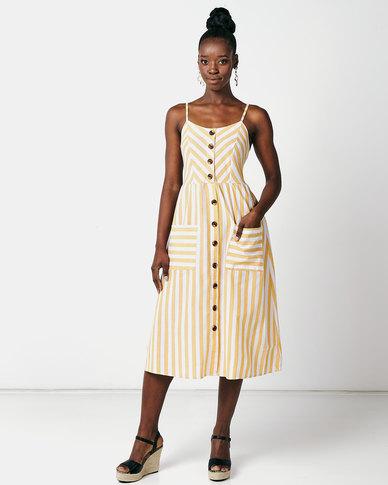 Utopia Stripe Button Through Dress Yellow/White