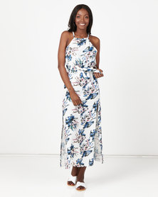 Utopia Floral Halter Neck Maxi Dress White Based