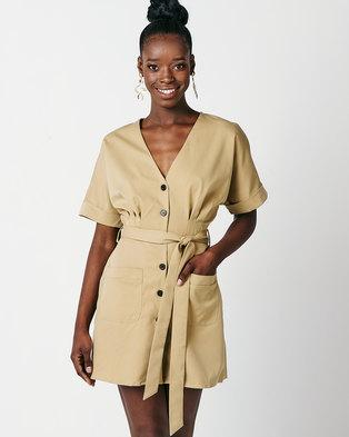 Utopia Tunic Dress With Self Belt Stone