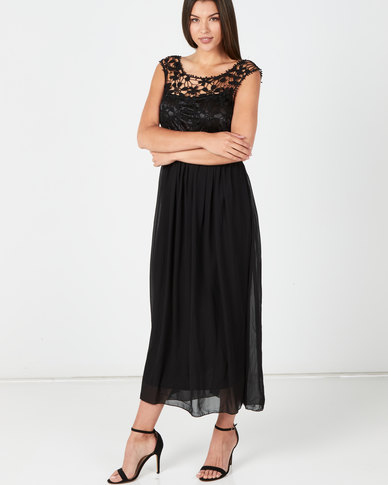 Utopia Maxi Dress With Lace Detail Black