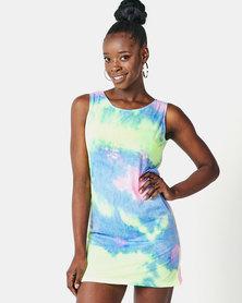 Utopia beach dress Neon tie dye'