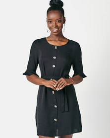 Utopia Button Through Dress With Tie Belt Black