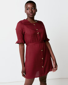 Utopia Button Through Dress With Tie Belt Red
