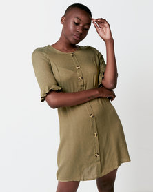 Utopia Button Through Dress With Tie Belt Olive Green