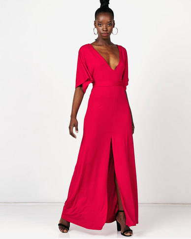 Utopia Maxi Dress With Batwing Red
