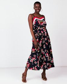 Utopia Based Strappy Floral Maxi Dress Navy