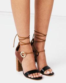 Miss Black Adamina Col Block Lace Up Detail Stack Heels Black/Tan