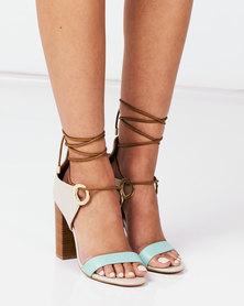 Miss Black Adamina Col Block Lace Up Detail Stack Heels Teal/Ivory