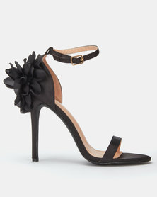Miss Black Venice Flower Heels Black