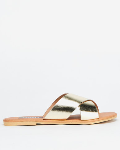 Utopia Leather Cross Strap Mule Gold