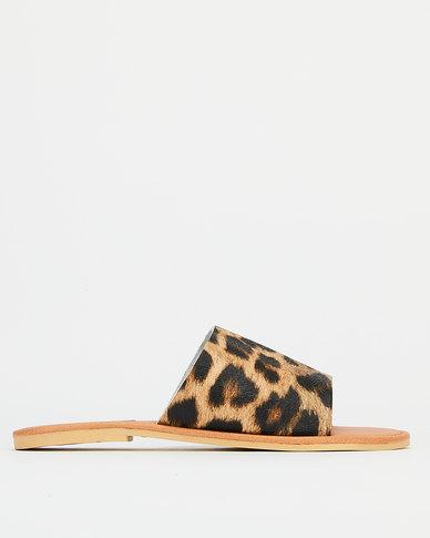 Utopia Leather Slides Animal