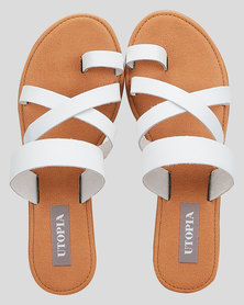 Utopia Leather Toe Post Sandals White
