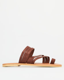 Utopia Leather Strappy Toe Post Sandals Brown