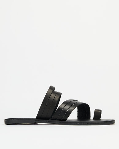 Utopia Leather Strappy Toe Post Sandals Black