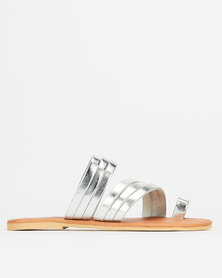 Utopia Leather Strappy Toe Post Sandals Silver