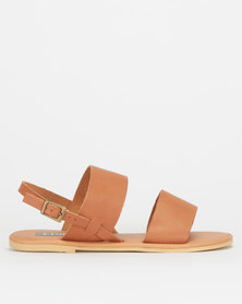 Utopia Leather Double Strap Slingback Sandals Tan