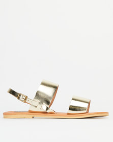 Utopia Leather Double Strap Slingback Gold