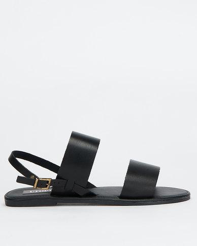 Utopia Leather Double Strap Slingback Black
