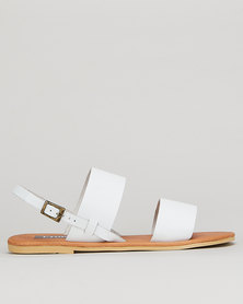 Utopia Leather Double Strap Slingback White