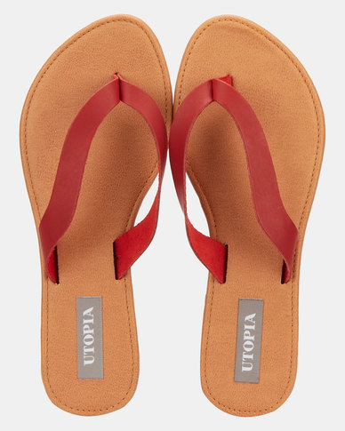 Utopia Leather Thong Sandals  Red