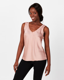 UB Creative Satin V-neck Vest Pink