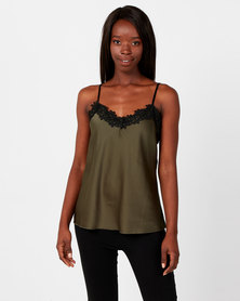 UB Creative Satin Cami with Black Lace Green