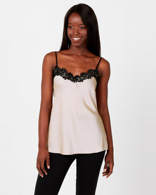 UB Creative Satin Cami with Black Lace Stone