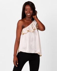 UB Creative Asymmetric Satin Off-shoulder Frill Top Stone