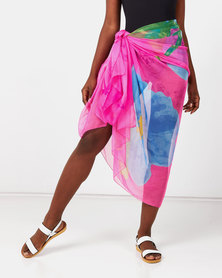 Talooshka Silk Sarong Cover-up Pink Multi
