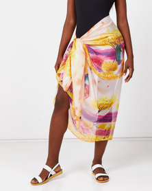 Talooshka Silk Sarong Cover-up Peach Windmill