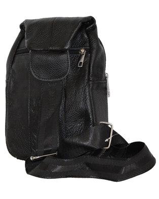 Fino Unisex Genuine Leather Sling Bag - Black