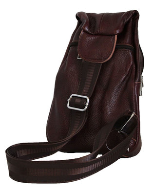 Fino Unisex Genuine Leather Sling Bag - Burgundy