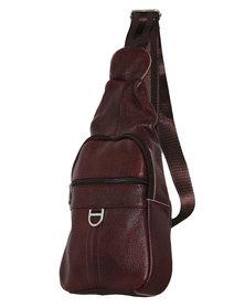 Fino Unisex Genuine Leather Sling Bag - Burgundy