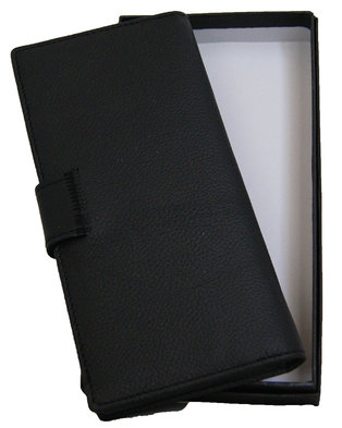 Fino Unisex Geniune Leather Bifold Wallet with Gift Box HL-P1407 - Black